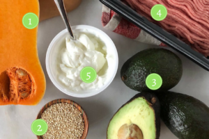 five healthy food swaps for the new year - butternut squash, avocado, greek yogurt, ground turkey and quinoa