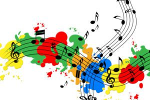 Splat Paint Showing Music Sheet And Colorful