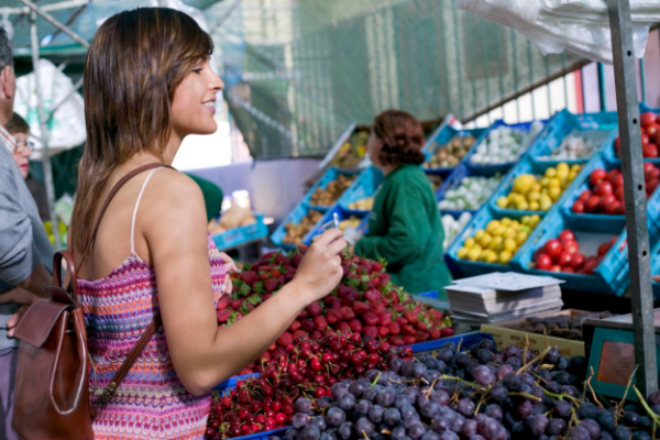 Woman at Farmers Market Shopping