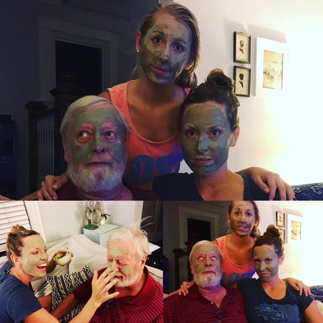 daughters and their dad with facemasks